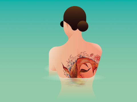 Illustration of woman with tattoo on her back standing in water