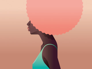 Illustration of a woman with a pink afro