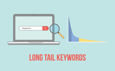 long tail keywords with laptop and graph chart illustration Wall mural