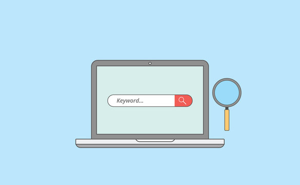 keyword research analysis with laptop and magnifying zoom tools with line or outline style