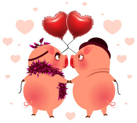 Pig couple with balloons heart shape look at each other