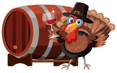 Thanksgiving turkey with wine glass
