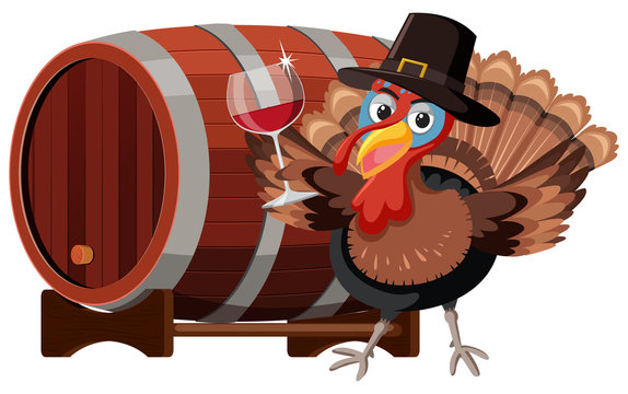 Thanksgiving turkey with wine glass