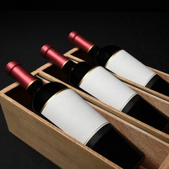 Three Wine Bottles in Wood Boxes Blank Labels