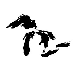 Great Lakes. Map. Vector illustration