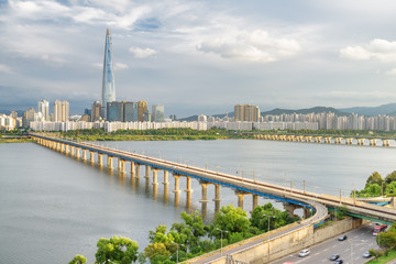 Amazing view of bridges over the Han River in Seoul