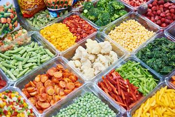 Frozen vegetables on store