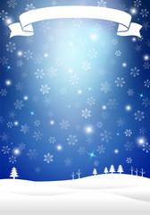 雪景色とリボン 背景イラスト