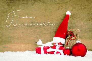 Frohe Weihnachten mit Weihnachtsdekoration