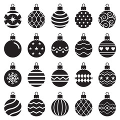 christmas balls icons. Vector illustration.