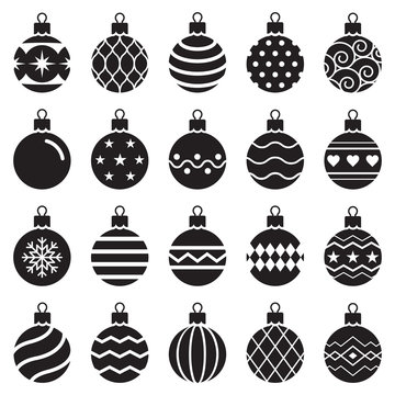 christmas balls icons. Vector illustration.