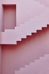 Geometric building design. The red wall, La manzanera. Calpe