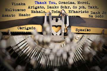 Thank you in different languages typed by retro typewriter