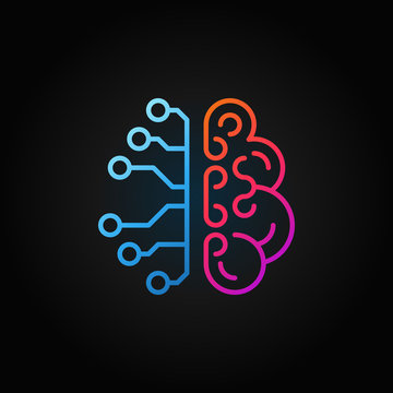 Artificial intelligence brain creative line icon. Vector sign