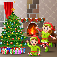 Illustration of the two elves celebrate a christmas at home