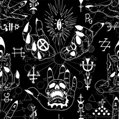 Seamless pattern with magician hands and abstract magic symbols on black. Esoteric, occult and wicca concept, Halloween illustration with mystic symbols and sacred geometry