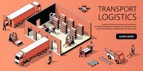 Vector 3d isometric site template with warehouse, truck and people. Landing page in thin line style, internet portal with button for transport logistics. Orange background with goods and storage.