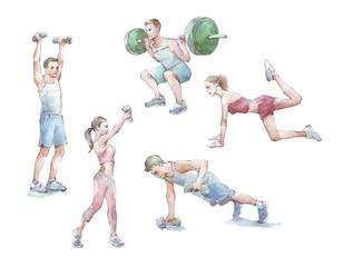 Sportspeople training watercolor