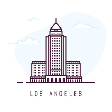 Los Angeles city line style illustration. Famous city hall in Los Angeles. Architecture city symbol of USA. Outline building vector illustration. Sky clouds on background. Travel and tourism banner.