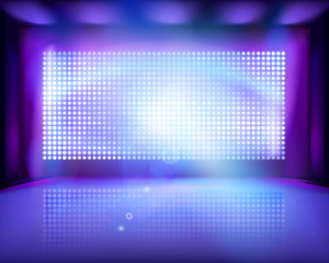 Large led projection screen. Vector illustration.