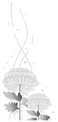 喪中ハガキの菊の花のイラスト