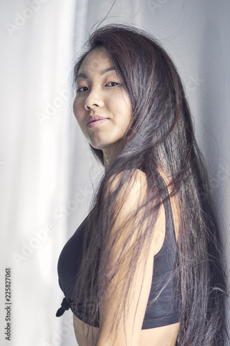 Asian Woman Smiling With Long Hair Black Hair Smiling On White