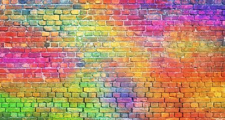 color brick wall, multi-colored masonry. rainbow background