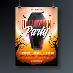 Halloween Party flyer vector illustration with black coffin and flying bats on orange moon background. Holiday design template for party invitation, greeting card, banner or celebration poster.