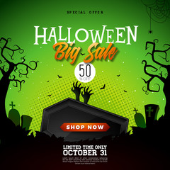 Halloween Sale vector banner illustration with scary faced shopping bag, crow, bats and cemetery on green background. Holiday design with typography lettering for offer, coupon, celebration, voucher