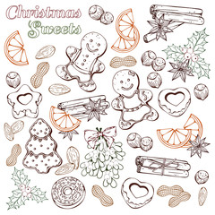 Group of vector colorful sketch illustrations on the Christmas Traditions theme; set of different kinds of Christmas symbols and sweets: candies, fruits and nuts.