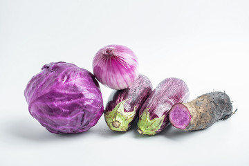 Purple vegetables on white background