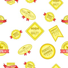 Label quality pattern. Cartoon illustration of label quality vector pattern for web