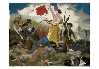 La Liberté guidant le peuple Eugène Delacroix Vecteur