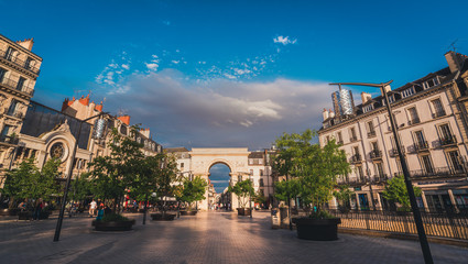 Dijon triumphal arch square in evening sunset