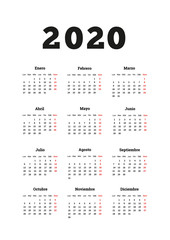 2020 year simple calendar in spanish, A4 size vertical sheet isolated on white