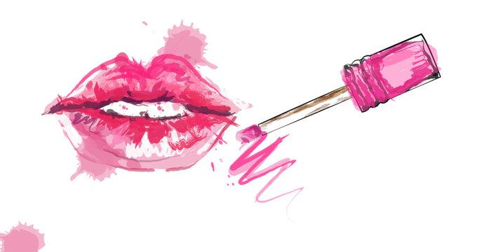 Light pink lip gloss and lips.