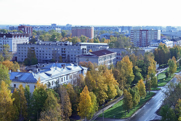 Arkhangelsk. The view from the top. Sunny autumn day.