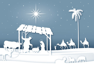 Soft shadows White Silhouette Christmas Nativity scene with Magi