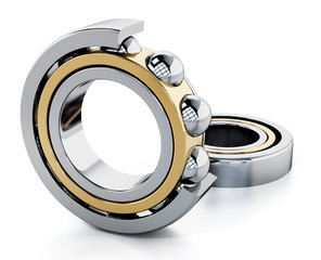 Ball bearings isolated on white background. 3D illustration