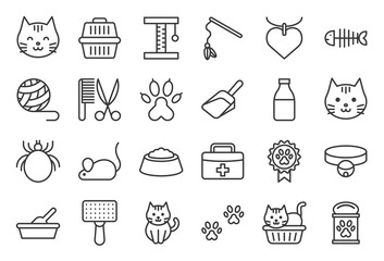 cute cat related icon such as cat litter box and toy, outline editable stroke Fotobehang