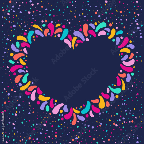 da39b5ff Vector festive gold heart frame. Ornament of glittering drops. For  carnival, fest, theme of love, couple, valintines day