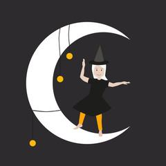 Halloween Hexe Mond