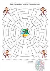Maze game for kids: Help the monkeys to get to the coconut tree. Answer included.