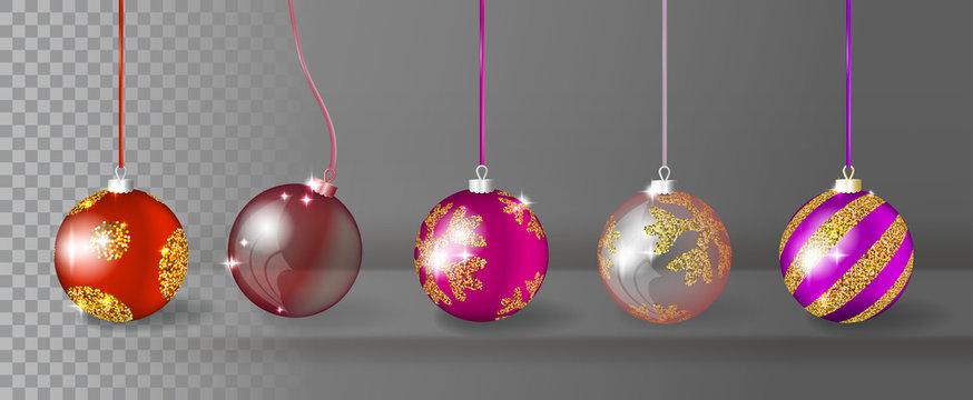 Transparent Realistic 3d Vector Christmas Balls Collection