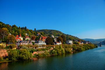 Houses on the Neckar river, Heidelberg Germany