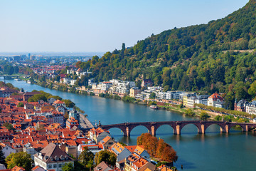 View across the Neckar river and old town of Heidelberg Germany