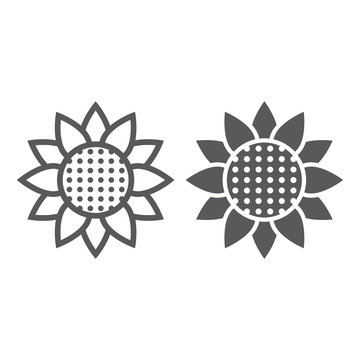 Sunflower line and glyph icon, nature and floral, flower sign, vector graphics, a linear pattern on a white background.