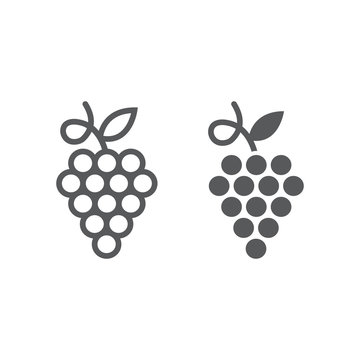 Grapes line and glyph icon, fruit and plant, wine sign, vector graphics, a linear pattern on a white background.