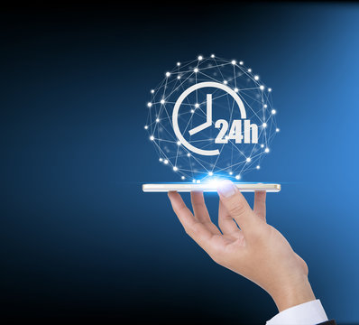 24h Open hours vector icon cover by social network connection, Non stop working shop or service symbol, All day working time sign.