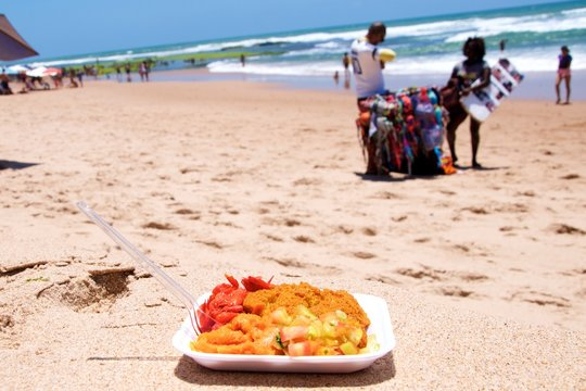 Acaraje, typical brazilian food in the beach